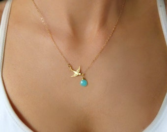 Gold Dove Necklace, Silver Dove Necklace, Silver Bird Necklace, Flying Bird Necklace, Small Swallow Necklace, Simple Everyday Jewelry