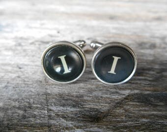 "Vintage Typewriter Key Cufflinks 'I I' The Letter I, Initial I, Black and Silver 5/8"" (15mm) Graduation, Writer, Literary, Wedding, Prom"