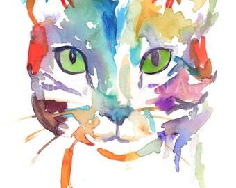 Cat Watercolor Print, Tabby Cat Painting, Watercolor Painting of Cat, Nursery Art, Abstract Cat Painting, Cat Illustration, Pet P