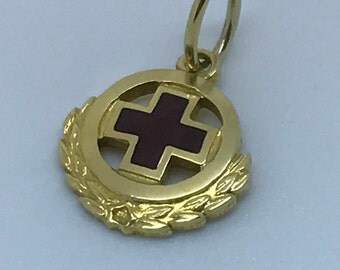 Solid 14K Yellow Gold Red Cross Pendant