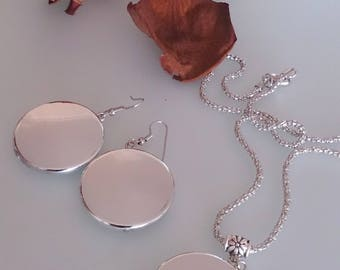 Bridesmaid jewelry, bridesmaids earrings, silver disc necklace, bridesmaid necklace, bridal earrings, silver disc earrings, bridesmaid set