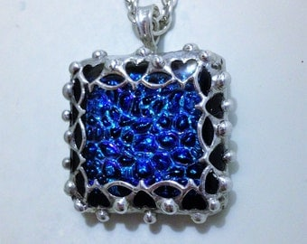 Blue Fused Glass Pendant with Handmade Heart Bezel / Heart Pendant / Silver Colored (tin) Bezel / Stainless Steel Chain