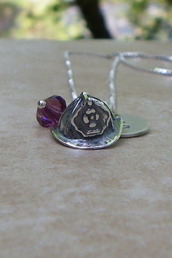Sterling silver fire hat necklace, fireman jewelry, sterling silver jewelry, proud mom necklace, memorial jewelry
