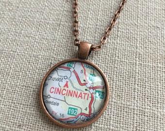 Map Necklace - Cincinnati, Ohio - Hometown, University of Cincinnati