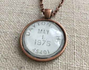 Postmark Necklace - Dayton, Ohio - Hometown, University of Dayton