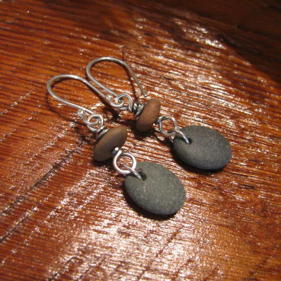 Lake Superior Pebbles Granite Stone and Sterling Silver Earrings-Toniraecreations