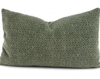 Aqua & Tan Diamond Print Velvet Lumbar Throw Pillow Cover, 12x20, Schumacher Fabric
