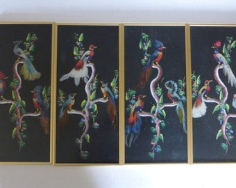 Mexican Feather Art - Exotic Birds On Branches - Set Of Four Framed