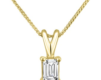 14k Yellow Gold Emerald-cut Diamond Solitaire Pendant Necklace (1/4 cttw, H-I, VS2-SI1)