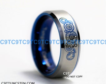 Top Quality TUNGSTEN Ring, 8mm Doctor Who Time Lord Design Beveled Ring With Blue Interior Custom Engraved