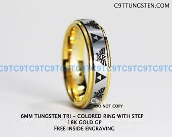 Top Quality Tungsten 6MM Ring, 18k Yellow GOLD GP Legend Of Zelda