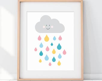 Nursery Clouds, Cloud Nursery, Kids Wall Art, Nursery Wall Art, Happy Cloud, Nursery Decor, Cute Art, Colorful Nursery Art, New Baby Gift