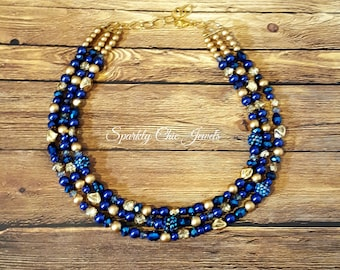 Navy Blue and Gold Multi-Strand Statement Necklace