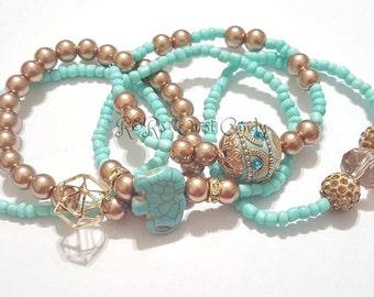 Turquoise, Gold, Brown, Bronze, Blue, Elephant, Bracelet, Stack, Stretchy, Womens Jewelry, Boho, Minimailist, Handmade Custom Beaded Jewelry