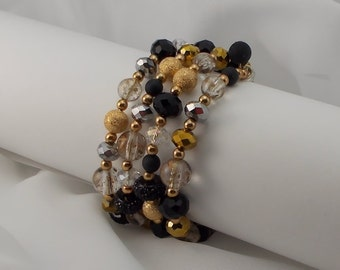 Vintage Crystal, Gold, and Black 1950 Glass Bead Cuff Bracelet  2157