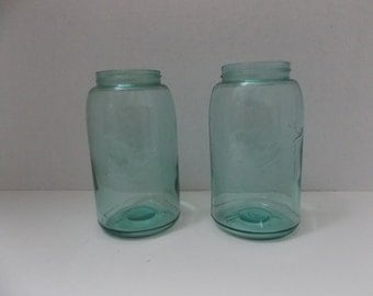 2 Ball Blue antique canning jars,  circa 1896 to 1910 No Mason on Jar Only Ball,  Excellent Condition Vintage Canning Jar