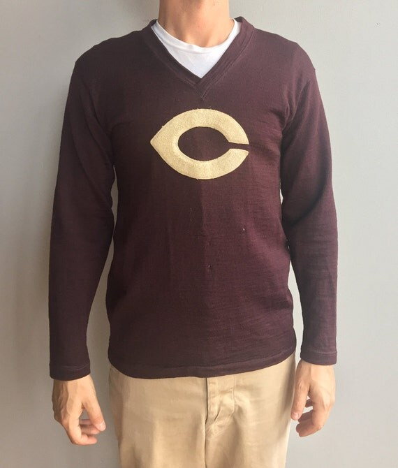 "1930s Wool V Neck University of Chicago Jersey with ""C'' Felt patch"