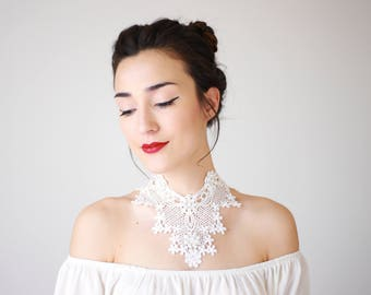 White Lace Necklace Statement Necklace Bib Necklace Pearl Necklace Bridal Necklace Wedding Necklace Girlfriend Gift For Her Boho / CAMILLA