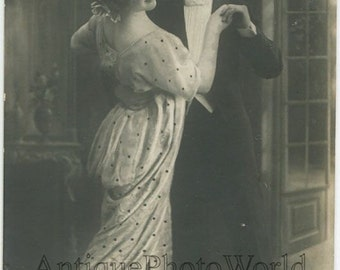 Dancing couple tango dancers antique photo pc