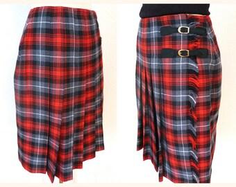 Knee-long woolen TARTAN / kilt skirt, red and black - MISTER LEONARD