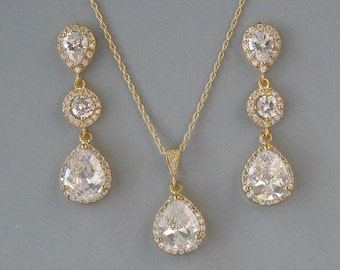 Cubic Zirconia, Yellow Gold Plated Over Brass, Gold Filled Chain, Clear Crystal, Necklace & Earrings,Set, Bridal Set, Bridesmaid Gift- DK791