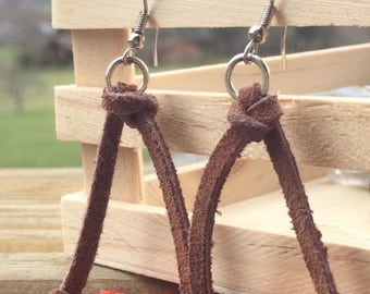 Coral and Leather Earrings FREE SHIPPING