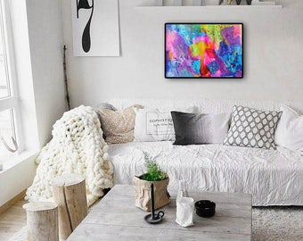 Luminescent Abstract Wall Art Decor, Acrylic Original Abstract Painting Landscape, Modern Multicolor Rainbow Contemporary Painting, Fine art