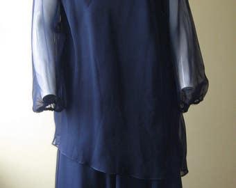 Blue tiered dress, 1970s vintage navy chiffon layers, Damon Dress, USA, size medium, Downton style