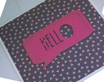Geometric Hello Greeting Card