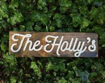 Family Name Board Handmade Rustic Wood String Art Sign