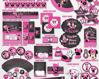 Pink Polka Dot and Chalkboard Minnie Mouse Birthday Party Decorations, Pink Polka Dot Minnie Mouse Party Pack, Minnie Mouse Chalkboard