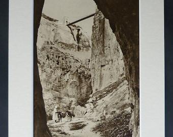 1920s Antique Rummel Gorge Bridge Print, Constantine Decor, Available Framed, Algeria Art, Algerian Picture Rhummel Valley Sepia Photography