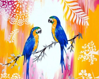 """paintings of birds, macaws, painting, paintings, with, parrots, blue, yellow, pink, bright, modern, by, hand,painted,original, 29.5"""" x 23.5"""""""