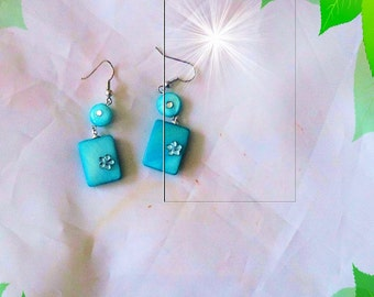 Earrings, earrings, Pearl, turquoise, handmade