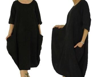 HW500SW dress blue linen balloon dress oversize vintage size 42 / 44 black