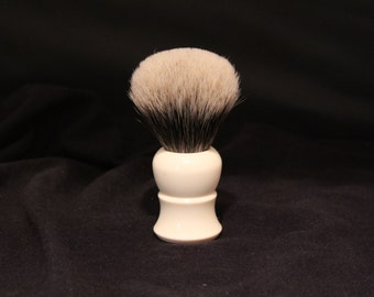 Faux Ivory Shaving Brush 26mm Finest Badger Hair Large Shaving Brush made by Swamphouse Woodworks