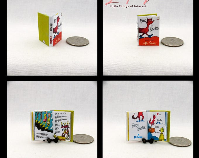 Miniature Book FOX IN SOX Miniature Book Color Illustrated Dollhouse 1:12 Scale Dr. Seuss Book Children's Nursery Story