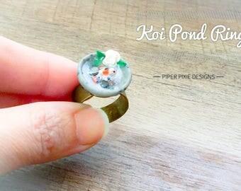 Miniature Koi Pond Statement Ring, Koi Fish Ring, Polymer Clay and Resin Jewelry, Koi Pond Charm