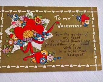 Vintage Valentine Sentiment Postcard --- Retro Romantic Poem Souvenir Mail --- 1920's Colorful Love Sweetheart Darling Chic Style Home Decor