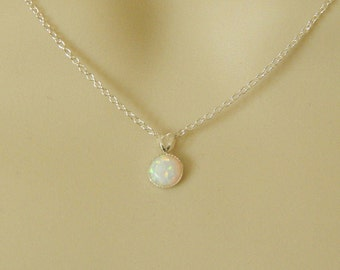 Opal Necklace, Sterling Silver Pendant, Synthetic Opal Pendant, Dainty Pendant, Sterling Silver Necklace, Tiny Opal Necklace