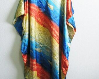 Orange Gold Caftan Blue Beach Maxi Dress XL One Size Resort Dress