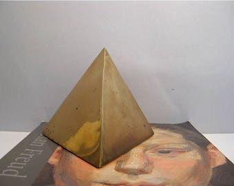 reserved for Sue A. W. ***Midcentury Modern Brass Triangle Sculpture Geometric Paperweight Bookend Hollywood Regency