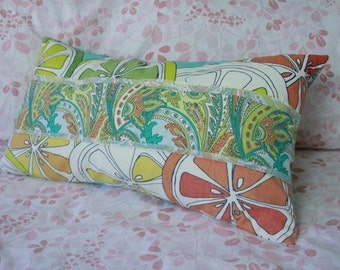 Decorative Pillow Cusion Cover Upcycled Home Decor Vintage Sheet Paisley Shirt Citrus Fruit Freshly Squeezed Artisan Handmade Colorful Print