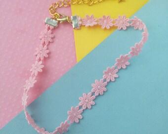 Pink Daisy Choker Necklace, Boho Pastel Goth Flower Choker Necklace, Layering Jewelry Lace Chokers, Tumblr, Trendy, Kawaii Choker
