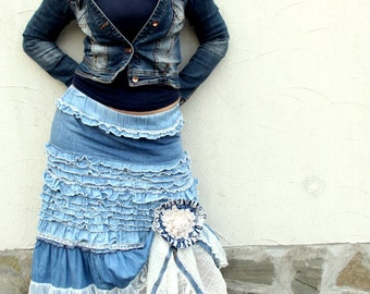 BIG SALE M-M/L Soft denim and lace shabby chic long skirt with denim pin hippie boho recycled