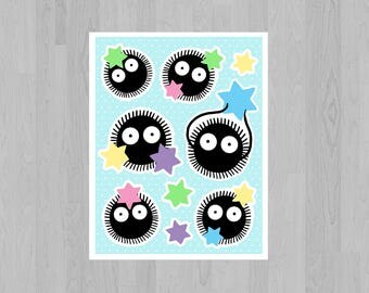 Soot Sprite 4 x 5 inch Sticker Sheet - Spirited Away - Miyazaki / Studio Ghibli