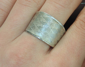 SR238 + Vintage Estate Sterling Silver Open Adjustable Wide Checkers US Size 10.25 UK U Ring 925 Jewelry Jewellery For Her 2 grams