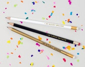Bloody Brilliant / Flipping Fantastic / Actually Amazing - Pack of 3 Jolly Good Pencils - Fun Birthday Present - Luxury Gold Foil Stationery