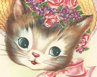 5 x 7 PRINT, adorable kitten with 8 x 10 mat, 1950's vintage greeting card, cat wearing bonnet, baby's room, cat lady