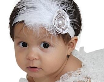 Flower Girl Headband, Baptism Headpiece, White Headband, Flower Baby Headband, Baby Headband, Christening Headband, Wedding Headband